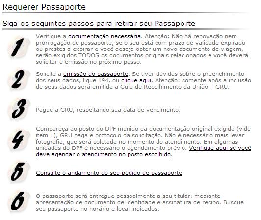 Resumo de emissão do Passaporte
